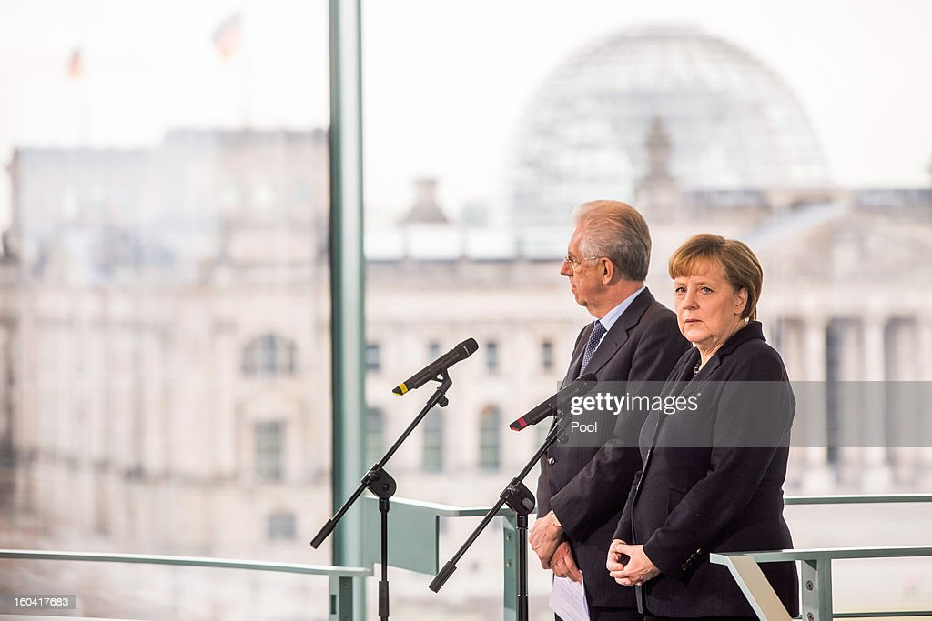 <a gi-track='captionPersonalityLinkClicked' href=/galleries/search?phrase=Angela+Merkel&family=editorial&specificpeople=202161 ng-click='$event.stopPropagation()'>Angela Merkel</a> meets with Italian Prime Minister <a gi-track='captionPersonalityLinkClicked' href=/galleries/search?phrase=Mario+Monti&family=editorial&specificpeople=632091 ng-click='$event.stopPropagation()'>Mario Monti</a> at the Chancellery on January 31, 2013 in Berlin, Germany. The German Chancellor is meeting with Italian Prime Minister <a gi-track='captionPersonalityLinkClicked' href=/galleries/search?phrase=Mario+Monti&family=editorial&specificpeople=632091 ng-click='$event.stopPropagation()'>Mario Monti</a> and Spanish Prime Minister Mariano Rajoy in Berlin to hold EU budget talks in preparation for the EU Summit to be held in Brussels next week.