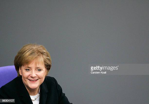 Angela Merkel of the Christian Democratic Union smiles after her first governmental statement as German Chancellor on November 30 2005 at the...