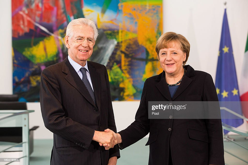 <a gi-track='captionPersonalityLinkClicked' href=/galleries/search?phrase=Angela+Merkel&family=editorial&specificpeople=202161 ng-click='$event.stopPropagation()'>Angela Merkel</a> shakes hands with visiting Italian Prime Minister <a gi-track='captionPersonalityLinkClicked' href=/galleries/search?phrase=Mario+Monti&family=editorial&specificpeople=632091 ng-click='$event.stopPropagation()'>Mario Monti</a> during their meeting at the Chancellery on January 31, 2013 in Berlin, Germany. The German Chancellor is meeting with Italian Prime Minister <a gi-track='captionPersonalityLinkClicked' href=/galleries/search?phrase=Mario+Monti&family=editorial&specificpeople=632091 ng-click='$event.stopPropagation()'>Mario Monti</a> and Spanish Prime Minister Mariano Rajoy in Berlin to hold EU budget talks in preparation for the EU Summit to be held in Brussels next week.