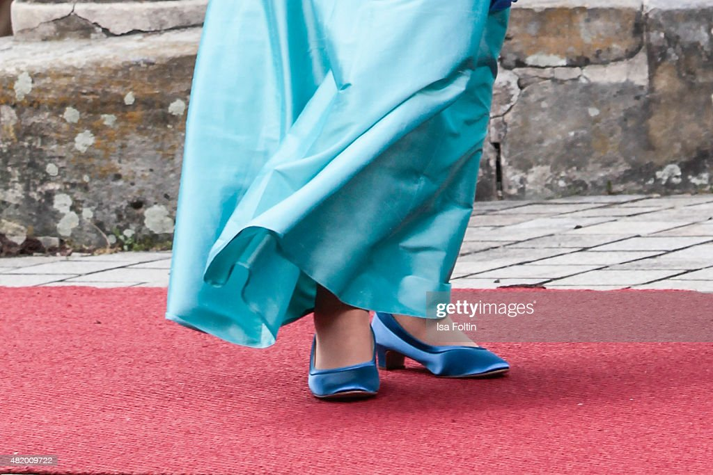 Angela Merkel shoe detail at the Bayreuth Festival 2015 Opening on July 25 2015 in Bayreuth Germany