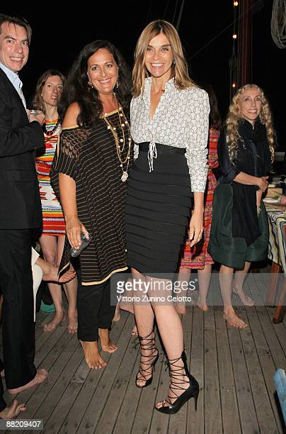 Angela Missoni and Carine Roitfeld attend the Bruce Nauman dinner party hosted by Missoni on the boat 'Timoteo' during the 2009 Venice Biennale on...