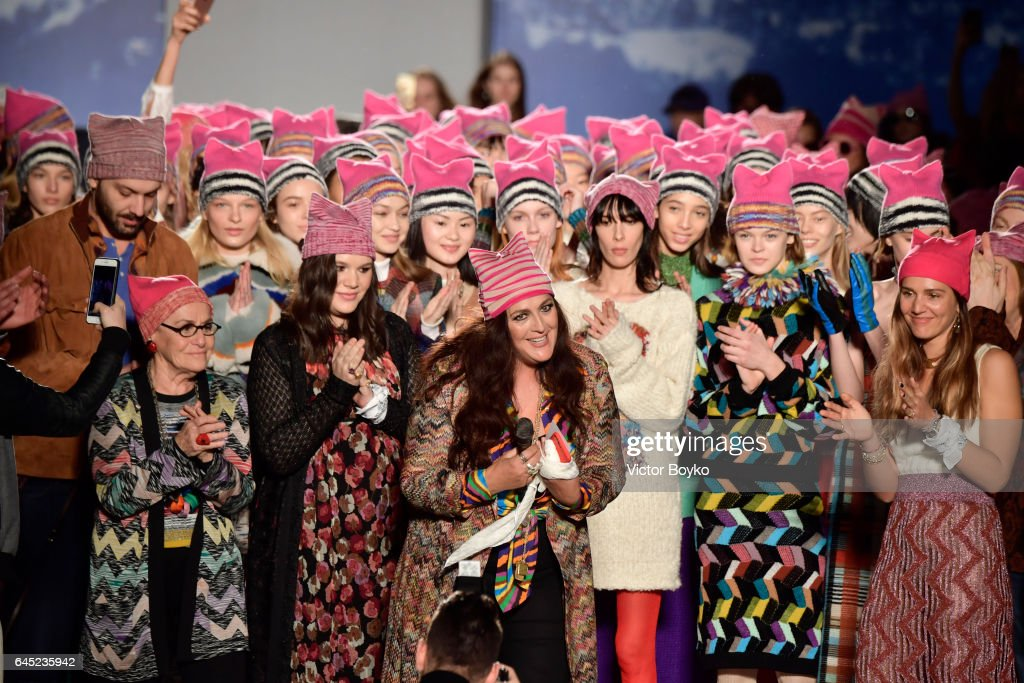 Angela Missoni poses with models on the runway at the Missoni show during Milan Fashion Week Fall/Winter 2017/18 on February 25, 2017 in Milan, Italy.