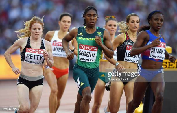Angela Petty of New Zealand Caster Semenya of South Africa Annie Leblanc of Canada and Rose Mary Almanza of Cuba compete in the womens 800 metres...