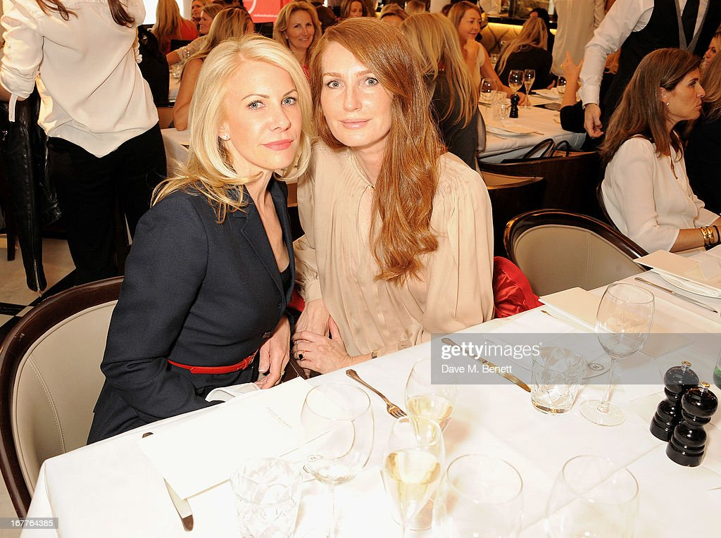 Angela Radcliffe (R) attends the launch of Cash & Rocket, in aid of the (Red) Rush to Zero campaign, at Banca Restaurant on April 29, 2013 in London, England.