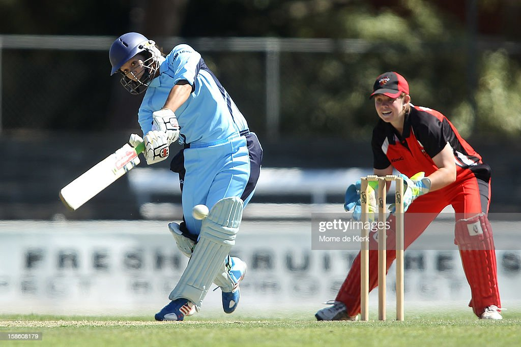 Angela Reakes of the Breakers bats during the women's Twenty20 match between the South Australia Scorpions and the New South Wales Breakers at Prospect Oval on December 21, 2012 in Adelaide, Australia.