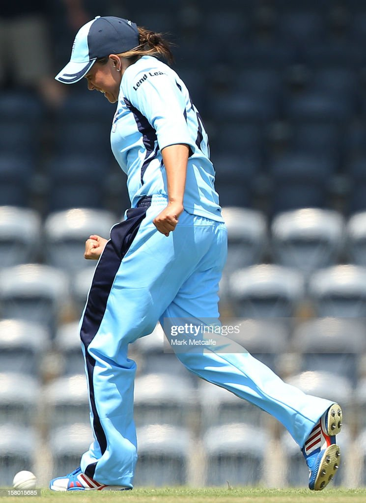 Angela Reakes of the Breakers celebrates taking the wicket of Veronica Pyke of the Roar during the women's Twenty20 match between the New South Wales Breakers and the Tasmania Roar at Blacktown International Sportspark on December 9, 2012 in Sydney, Australia.