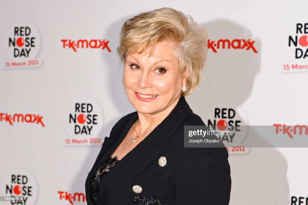 Angela Rippon attends a fundraising cocktail party hosted by TK Maxx in aid of Comic Relief's Red Nose Day at The Royal Opera House on February 28, 2013 in London, England.