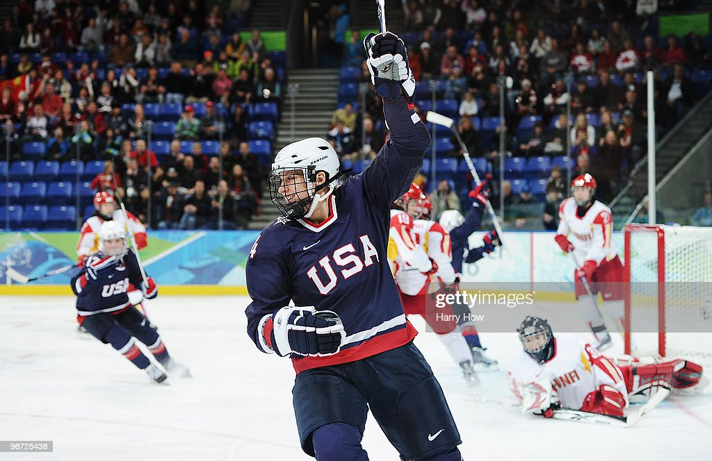 <a gi-track='captionPersonalityLinkClicked' href=/galleries/search?phrase=Angela+Ruggiero&family=editorial&specificpeople=220275 ng-click='$event.stopPropagation()'>Angela Ruggiero</a> #4 of United States celebrates after scoring against China during their women's ice hockey preliminary game at UBC Thunderbird Arena on February 14, 2010 in Vancouver, Canada.