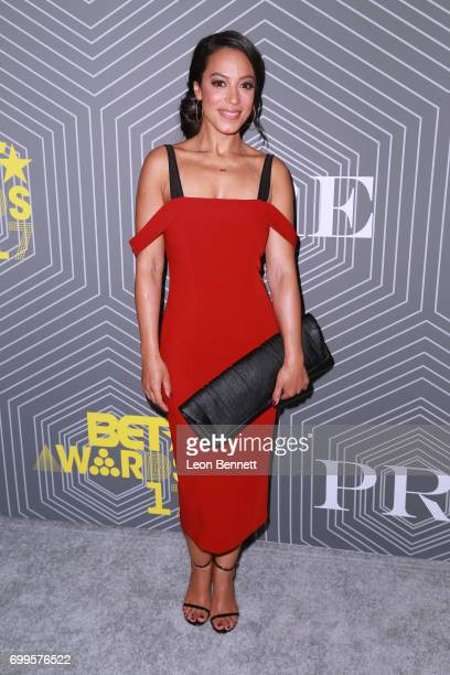 Angela Rye arrived at the 2017 BET Awards 'PRE' at The London West Hollywood on June 21 2017 in West Hollywood California