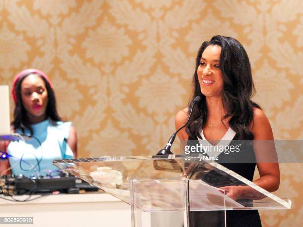 Angela Rye speaks at the Strength Of A Woman Brunch hosted by Mary J Blige at The Roosevelt New Orleans on July 2 2017 in New Orleans Louisiana