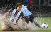 Angela Salem of the Jets competes for the ball with Servet Uzunlar of Sydney during the round 12 WLeague match between Sydney FC and Newcastle Jets...