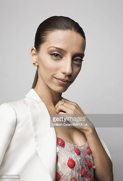 Angela Sarafyan poses for a portraits at the BAFTA Tea Party at Four Seasons Hotel Los Angeles at Beverly Hills on January 7 2017 in Los Angeles...