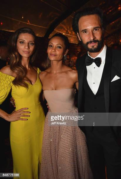 Angela Sarafyan Thandie Newton and Rodrigo Santoro attend the HBO's Official 2017 Emmy After Party at The Plaza at the Pacific Design Center on...