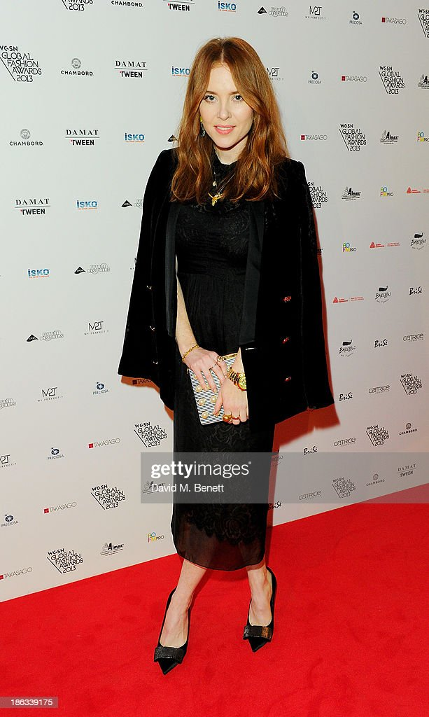 Angela Scanlon arrives at The WGSN Global Fashion Awards at the Victoria & Albert Museum on October 30, 2013 in London, England.