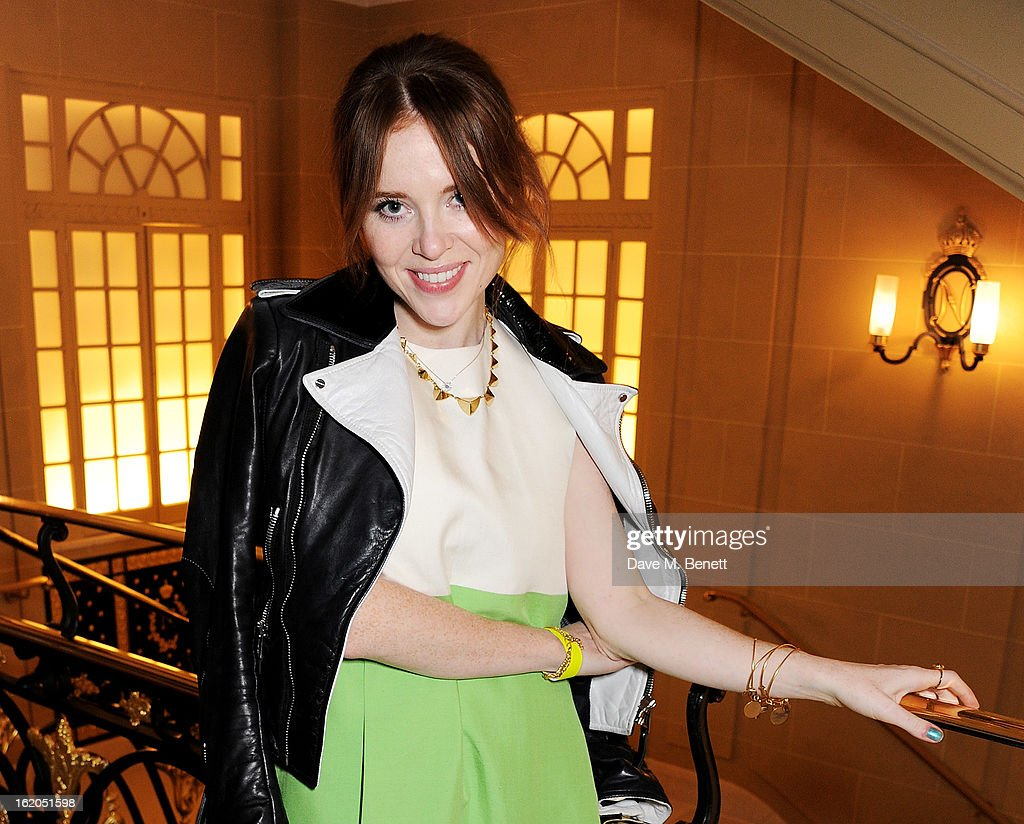 Angela Scanlon attends the AnOther Magazine and Dazed & Confused party with Belvedere Vodka at the Cafe Royal hotel on February 18, 2013 in London, England.