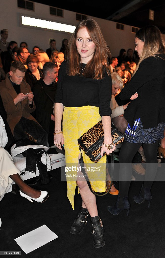 Angela Scanlon attends the Issa London show during London Fashion Week Fall/Winter 2013/14 at Somerset House on February 16, 2013 in London, England.