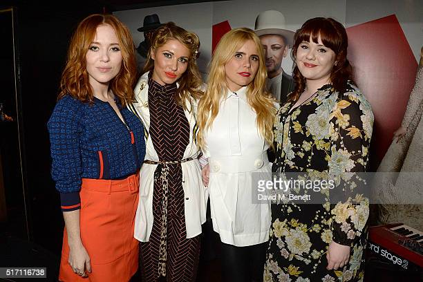 Angela Scanlon Beth Morris Paloma Faith and Heather CameronHayes attend The Voice UK Open Mic Night at The Scotch of St James on March 23 2016 in...