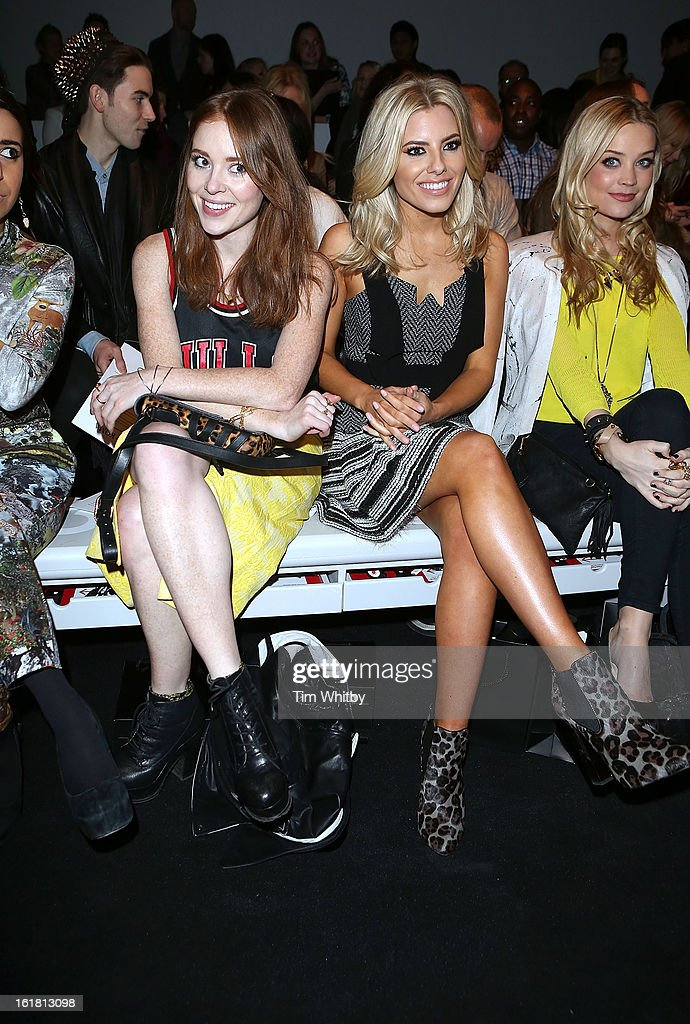 Angela Scanlon, <a gi-track='captionPersonalityLinkClicked' href=/galleries/search?phrase=Mollie+King&family=editorial&specificpeople=5522262 ng-click='$event.stopPropagation()'>Mollie King</a> and <a gi-track='captionPersonalityLinkClicked' href=/galleries/search?phrase=Laura+Whitmore&family=editorial&specificpeople=5599316 ng-click='$event.stopPropagation()'>Laura Whitmore</a> attend the David Koma show during London Fashion Week Fall/Winter 2013/14 at Somerset House on February 16, 2013 in London, England.