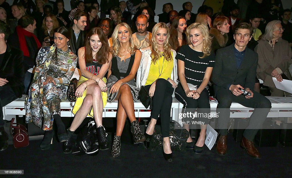 Angela Scanlon (2nd L), <a gi-track='captionPersonalityLinkClicked' href=/galleries/search?phrase=Mollie+King&family=editorial&specificpeople=5522262 ng-click='$event.stopPropagation()'>Mollie King</a> (3rd L), <a gi-track='captionPersonalityLinkClicked' href=/galleries/search?phrase=Laura+Whitmore&family=editorial&specificpeople=5599316 ng-click='$event.stopPropagation()'>Laura Whitmore</a> (3rd R), <a gi-track='captionPersonalityLinkClicked' href=/galleries/search?phrase=Pixie+Lott&family=editorial&specificpeople=5591168 ng-click='$event.stopPropagation()'>Pixie Lott</a> (2nd R) and <a gi-track='captionPersonalityLinkClicked' href=/galleries/search?phrase=Oliver+Cheshire&family=editorial&specificpeople=7407100 ng-click='$event.stopPropagation()'>Oliver Cheshire</a> (R) attend the David Koma show during London Fashion Week Fall/Winter 2013/14 at Somerset House on February 16, 2013 in London, England.