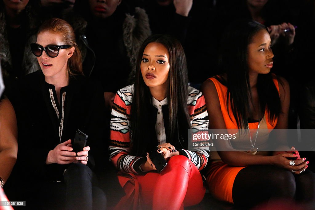 <a gi-track='captionPersonalityLinkClicked' href=/galleries/search?phrase=Angela+Simmons&family=editorial&specificpeople=653461 ng-click='$event.stopPropagation()'>Angela Simmons</a> and DJ Kiss attend the Tracy Reese Fall 2013 fashion show during Mercedes-Benz Fashion Week at The Studio at Lincoln Center on February 10, 2013 in New York City.