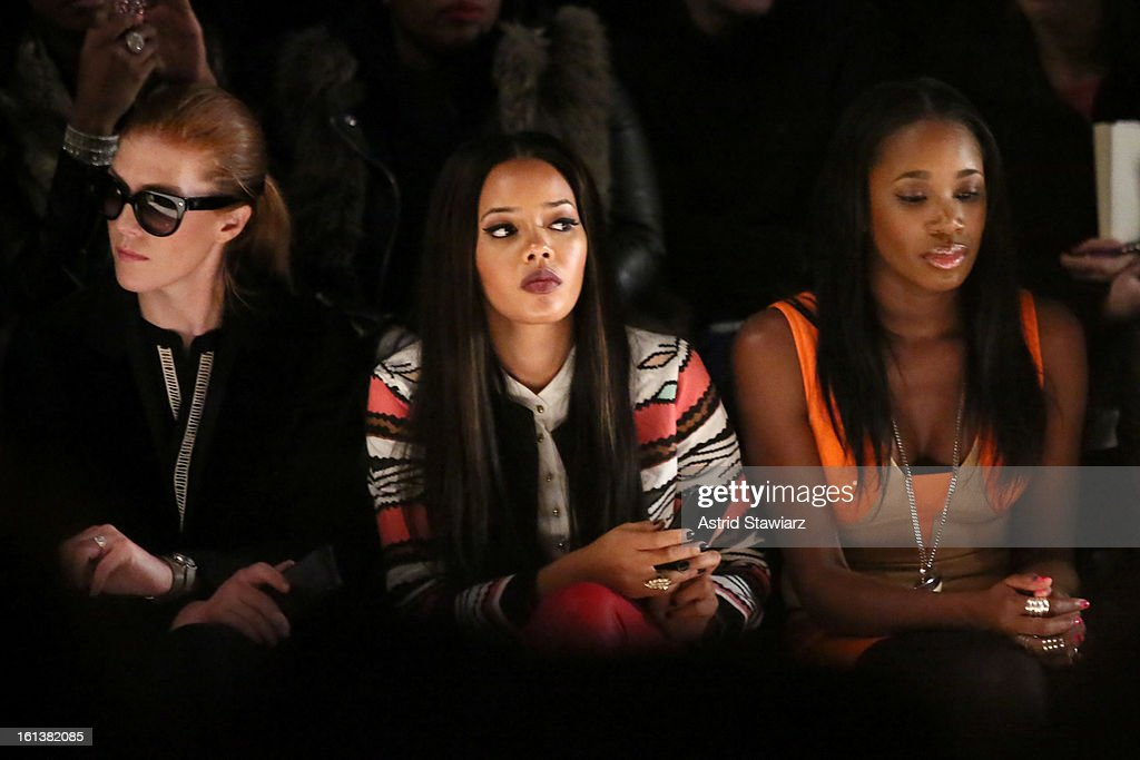 <a gi-track='captionPersonalityLinkClicked' href=/galleries/search?phrase=Angela+Simmons&family=editorial&specificpeople=653461 ng-click='$event.stopPropagation()'>Angela Simmons</a> (L) and DJ Kiss attend the Tracy Reese Fall 2013 fashion show with TRESemme during Mercedes-Benz Fashion Week at The Studio at Lincoln Center on February 10, 2013 in New York City.