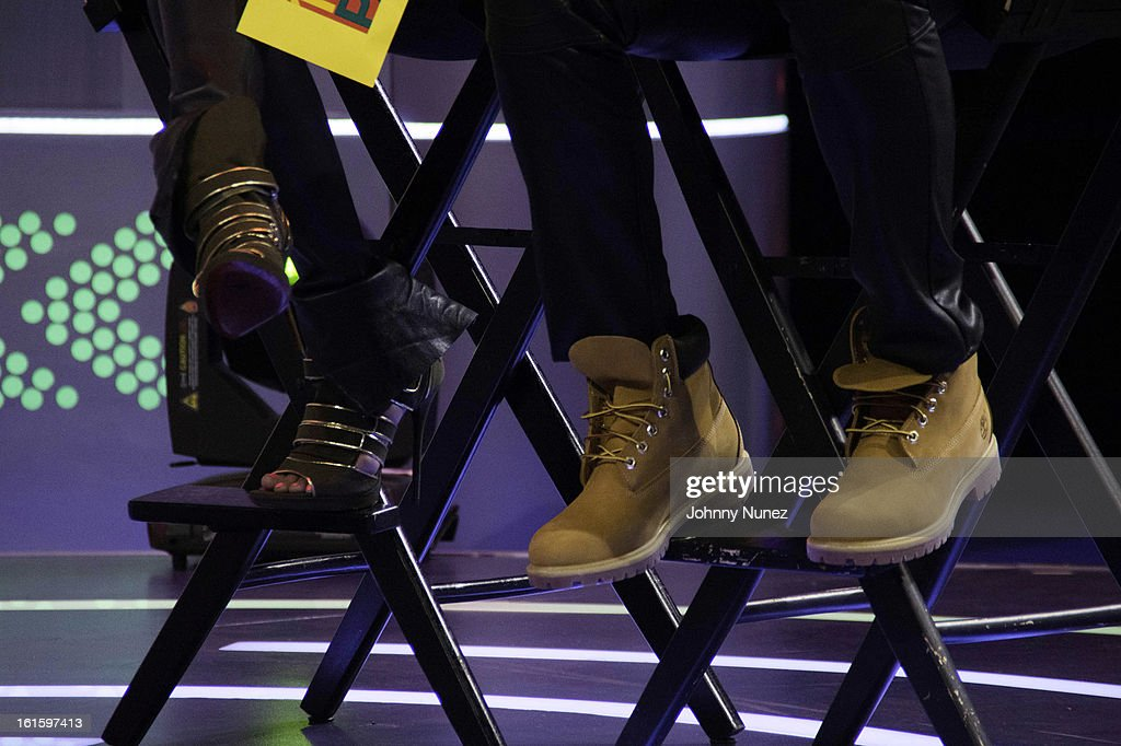 Angela Simmons and Jason Bolden (shoe detail) visit BET's '106 & Park' at BET Studios on February 11, 2013 in New York City.