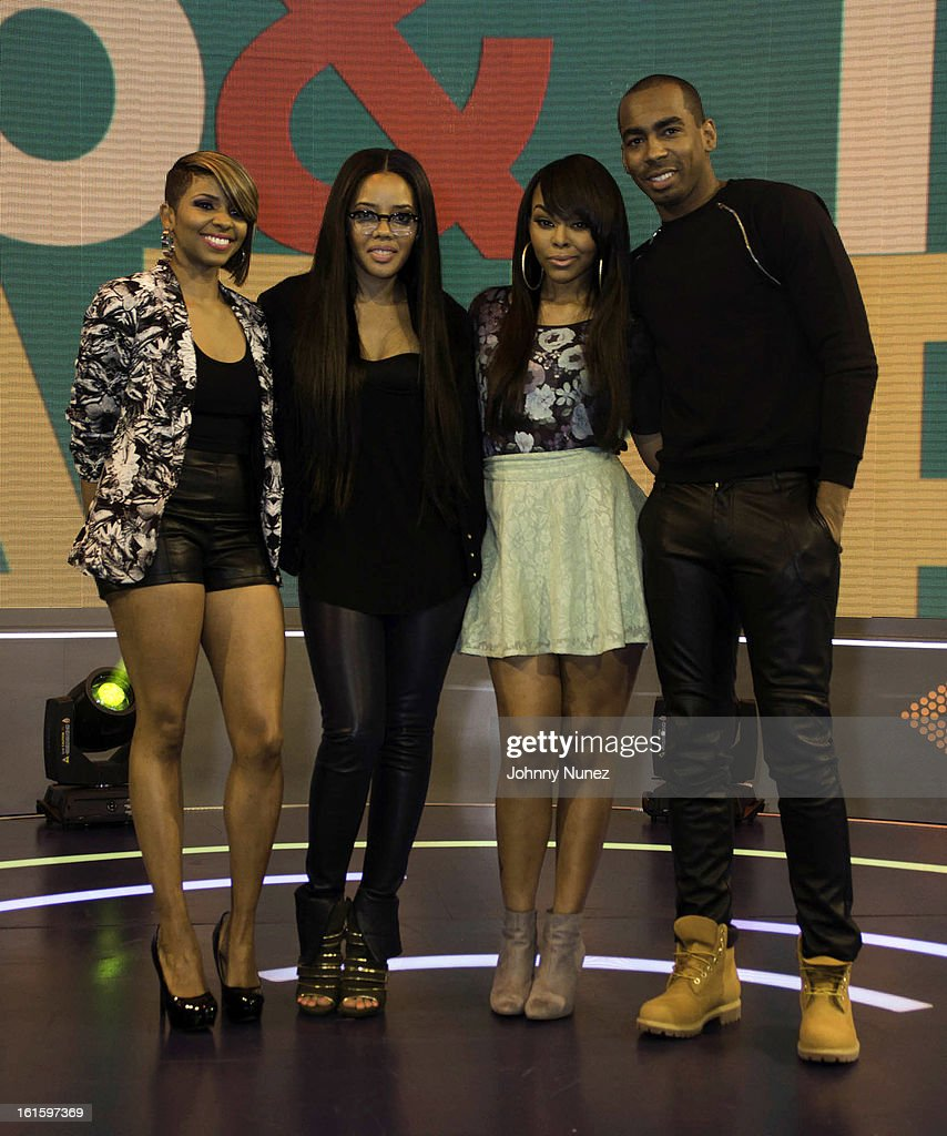 <a gi-track='captionPersonalityLinkClicked' href=/galleries/search?phrase=Angela+Simmons&family=editorial&specificpeople=653461 ng-click='$event.stopPropagation()'>Angela Simmons</a> (2nd L) and Jason Bolden (R) visit BET's '106 & Park' with hosts Ms. Mykie (L) and Kimberly 'Paigion' Walker (2nd R) at BET Studios on February 11, 2013 in New York City.