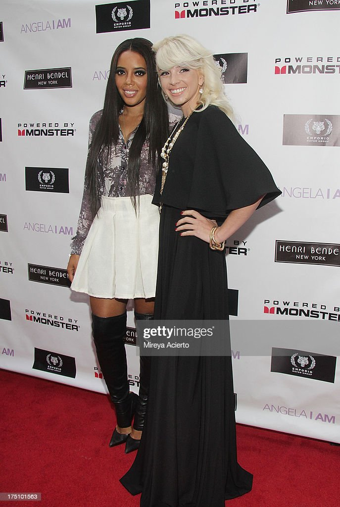 Angela Simmons and Lauriana Mae attend the Angela I Am launch at Henri Bendel on July 31, 2013 in New York City.
