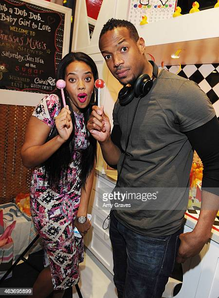 Angela Simmons and Marlon Wayans attend Vanessa Simmons Baby Shower at Sugar Factory Hollywood on January 18 2014 in Los Angeles California