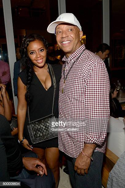 Angela Simmons and Russell Simmons attend the Haute Living And Hublot Event At Wayne Boich Residence on December 4 2015 in Miami Florida