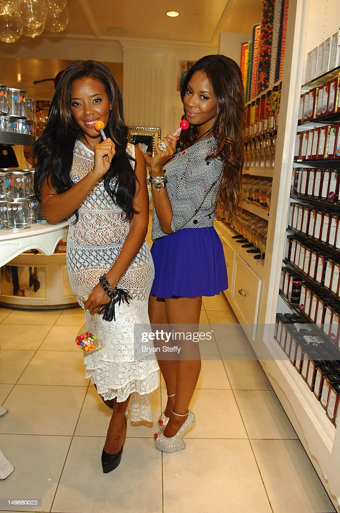 Angela Simmons and Vanessa Simmons appear at the Sugar Factory American Brasserie at the Paris Las Vegas on August 5 2012 in Las Vegas Nevada