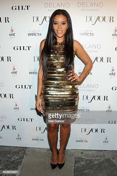 Angela Simmons attends DuJour Magazine's event to honor artist Marc Quinn at Delano South Beach Club on December 4 2013 in Miami Beach Florida