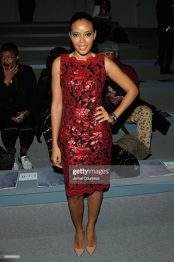 Angela Simmons attends the Tadashi Shoji Fall 2013 fashion show during Mercedes-Benz Fashion Week at The Stage at Lincoln Center on February 7, 2013 in New York City.