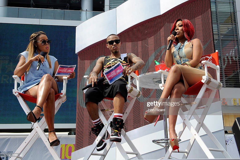 Angela Simmons, Bow Wow and recording artist K.Michelle speak onstage during at 106 & Park Live presented by Coke during the 2013 BET Experience at L.A. LIVE on June 29, 2013 in Los Angeles, California.