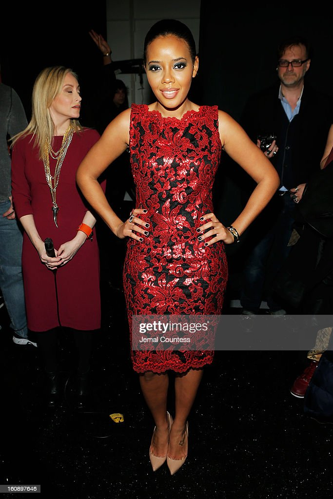 Angela Simmons poses backstage at the Tadashi Shoji Fall 2013 fashion show during Mercedes-Benz Fashion Week at The Stage at Lincoln Center on February 7, 2013 in New York City.