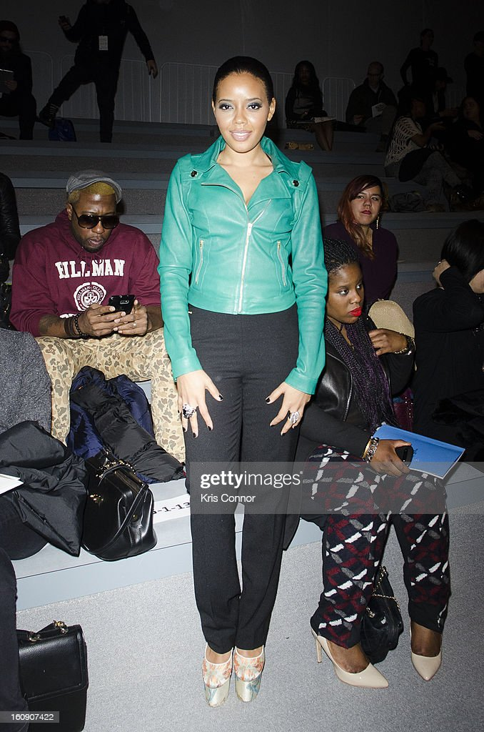 <a gi-track='captionPersonalityLinkClicked' href=/galleries/search?phrase=Angela+Simmons&family=editorial&specificpeople=653461 ng-click='$event.stopPropagation()'>Angela Simmons</a> poses for a photo during the Concept Korea Fall 2013 Mercedes-Benz Fashion Show at The Stage at Lincoln Center on February 7, 2013 in New York City.