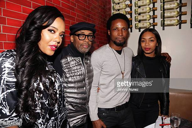 Angela Simmons Spike Lee Elvis Nolasco and Zaraah Abrahams attend 'Da Sweet Blood Of Jesus' dinner reception at Red Stixs on February 9 in New York...