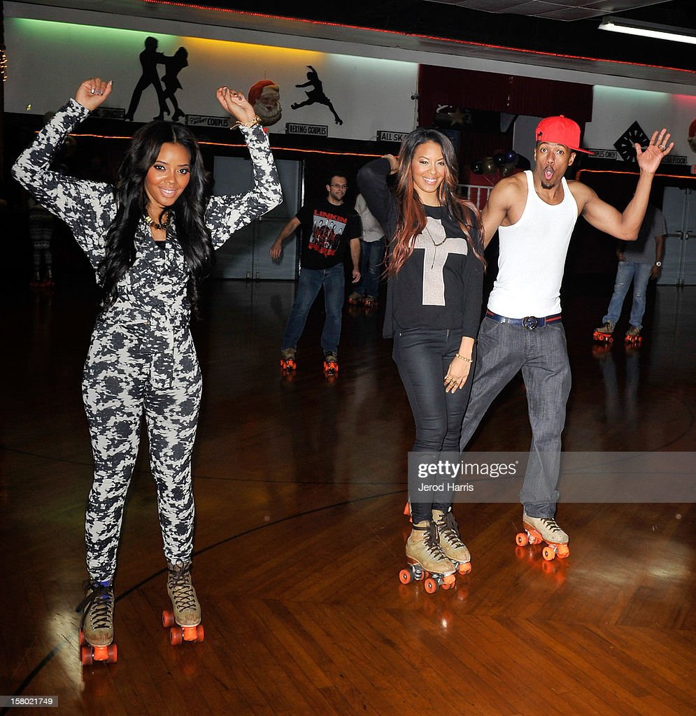 <a gi-track='captionPersonalityLinkClicked' href=/galleries/search?phrase=Angela+Simmons&family=editorial&specificpeople=653461 ng-click='$event.stopPropagation()'>Angela Simmons</a>, <a gi-track='captionPersonalityLinkClicked' href=/galleries/search?phrase=Vanessa+Simmons&family=editorial&specificpeople=653460 ng-click='$event.stopPropagation()'>Vanessa Simmons</a> and <a gi-track='captionPersonalityLinkClicked' href=/galleries/search?phrase=Nick+Cannon&family=editorial&specificpeople=202208 ng-click='$event.stopPropagation()'>Nick Cannon</a> rollerskate at Pastry Shoes 'Skate & Donate' benefitting Toys For Tots on December 8, 2012 in Glendale, California.