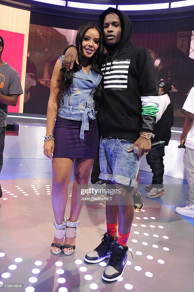 <a gi-track='captionPersonalityLinkClicked' href=/galleries/search?phrase=Angela+Simmons&family=editorial&specificpeople=653461 ng-click='$event.stopPropagation()'>Angela Simmons</a> with A$AP Rocky at BET's 106 & Park at BET Studios on July 15, 2013 in New York City.
