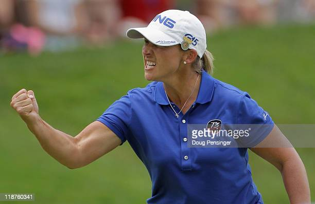 Angela Stanford celebrates her birdie putt on the 5th hole during the final round of the US Women's Open at The Broadmoor on July 10 2011 in Colorado...