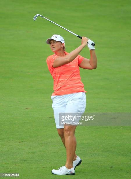 Angela Stanford hits her second shot on the ninth hole during the first round of the Marathon Classic Presented By Owens Corning And OI held at...