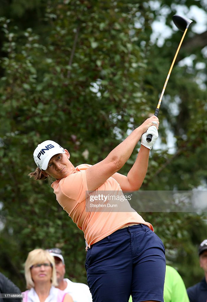 <a gi-track='captionPersonalityLinkClicked' href=/galleries/search?phrase=Angela+Stanford&family=editorial&specificpeople=220267 ng-click='$event.stopPropagation()'>Angela Stanford</a> hits her tee shot on the 14th hole during the second round of the CN Canadian Women's Open at Royal Mayfair Golf Club on August 23, 2013 in Edmonton, Alberta, Canada.