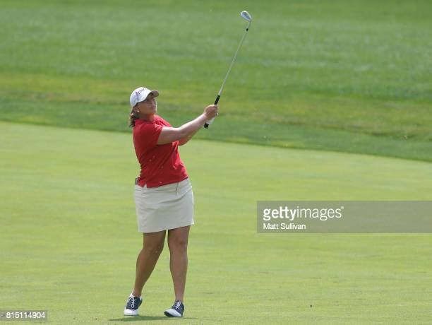 Angela Stanford hits her third shot on the first hole during the third round of the US Women's Open Championship at Trump National Golf Club on July...
