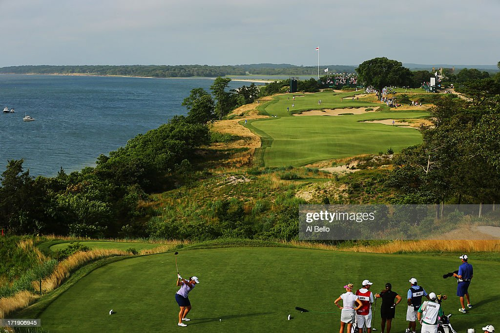 Angela Stanford hits the ball on the eighteenth tee during the third round of the 2013 U.S. Women's Open at Sebonack Golf Club on June 29, 2013 in Southampton, New York.