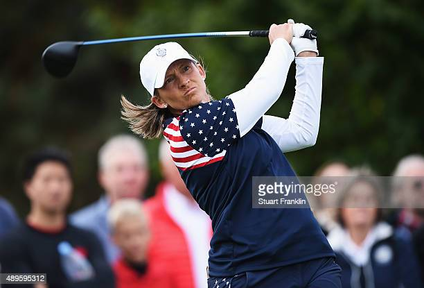 Angela Stanford of team USA plays a shot during the singles matches of The Solheim Cup at St LeonRot Golf Club on September 20 2015 in St LeonRot...