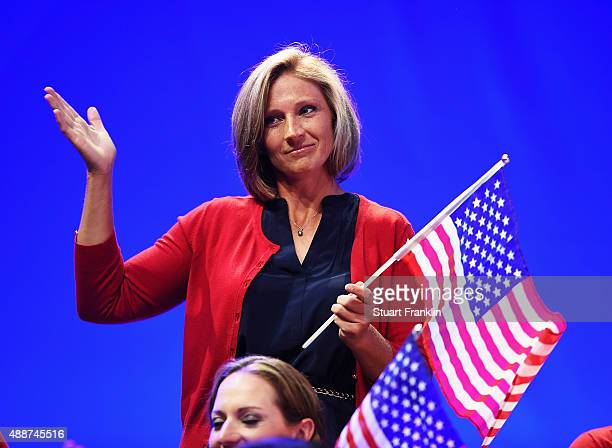 Angela Stanford of team USA waves at the opening ceremony prior to the start of the Solheim Cup at St LeonRot Golf Club on September 17 2015 in St...