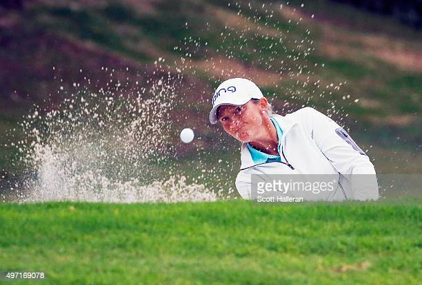 Angela Stanford of the United States plays a bunker shot on the 16th hole during the third round of the Lorena Ochoa Invitational Presented By...