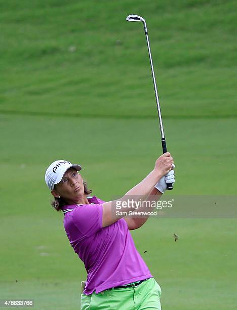 Angela Stanford of the United States plays a shot on the second hole during the first round of the Walmart NW Arkansas Championship Presented by PG...