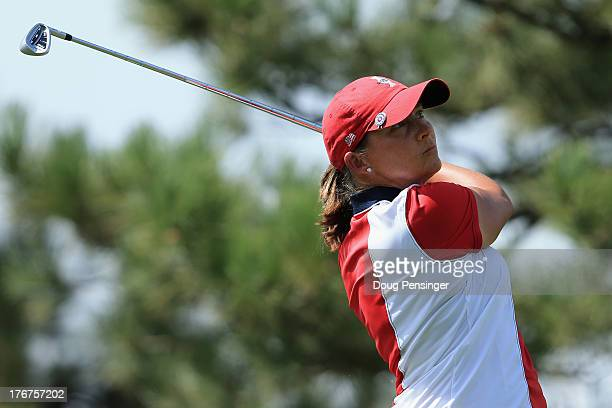 Angela Stanford of the United States Team hits her tee shot on the second hole during the final day singles matches of the 2013 Solheim Cup on August...