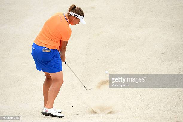 Angela Stanford of the USA chips onto the green during the second round of the TOTO Japan Classics 2015 at the Kintetsu Kashikojima Country Club on...